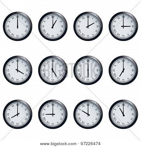 Clock set with Roman numerals, timed at each hour