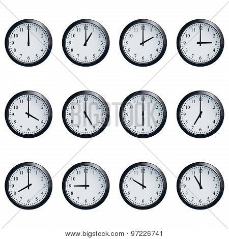 Set of realistic wall clocks, with the times set at every hour. poster