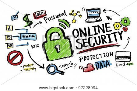 Online Security Protection Internet Safety Guard Lock Concept