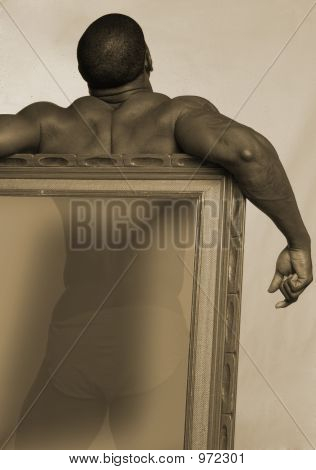 Black Man With Frame For Text
