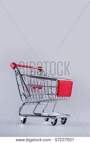 Shopping trolley. Shopping cart. Shopping trolley on muti collored background.