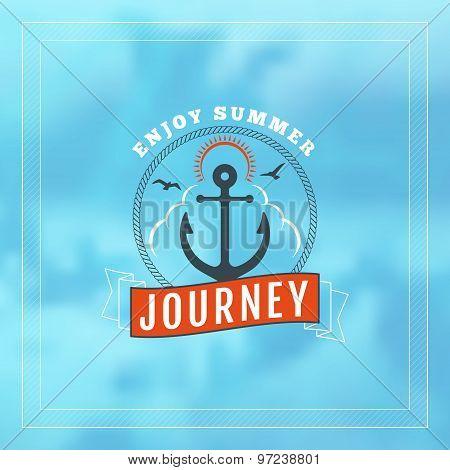 Vintage Hipster Summer Holidays Label Or Badge. Vector Design Element On Coloful Summer Background