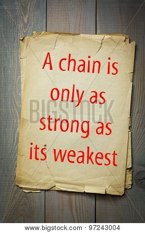 English proverb: A chain is only as strong as its weakest link. 50 most important english proverbs series