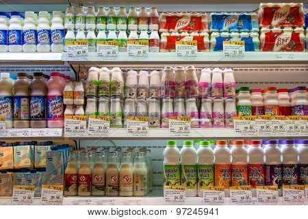 Selection of yogurts soy milk and milk on the shelves in a supermarket Siam Paragon in Bangkok Thail