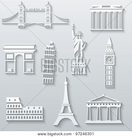 World landmarks, abstract flat paper icons set