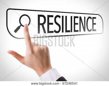 Resilience written in search bar on virtual screen