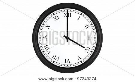 Realistic 3D clock set with Roman numerals at 4 o'clock