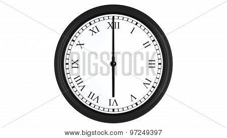 Realistic 3D clock with Roman numerals set at 6 o'clock