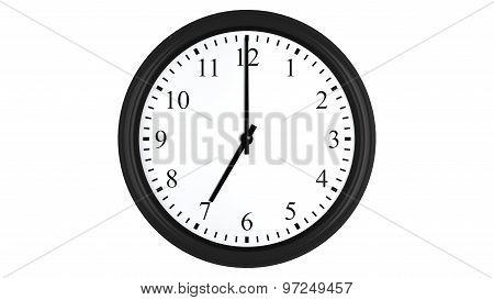 Realistic 3D clock set at 7 o'clock