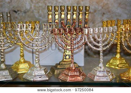 Decorative Menorah (hanukkiah), Religious Candleholder