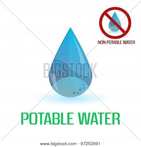 Potable And Non-potable Water Blue Symbols Eps10