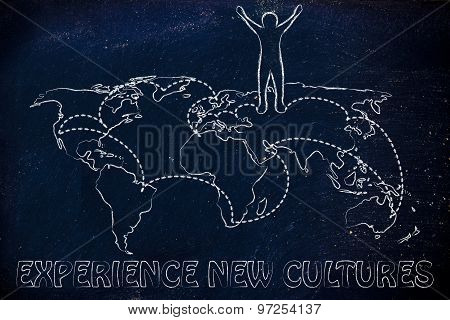 happy man standing on world map with travel itinerary concept of experiencing new cultures poster