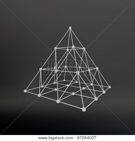Polygonal pyramid. Pyramid of the lines connected points. Atomic lattice. Driving a constructive solution of the pyramid. Vector Illustration EPS10. poster