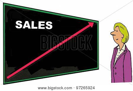 Business cartoon showing businesswoman looking at a chart that reads, 'Sales' and shows an increasing red arrow. poster