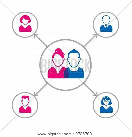 Structure Of Family. Vector Illustration And Network Icons.