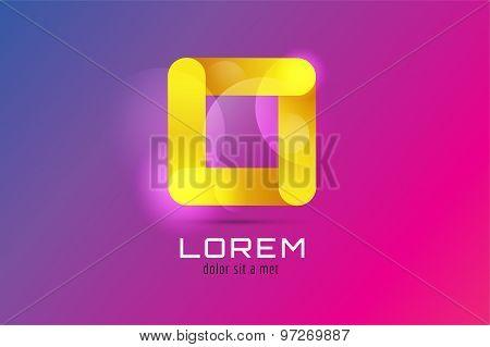 Vector square abstract logo template. Corner geometric and symmetric symbol, trendy icon, creative i