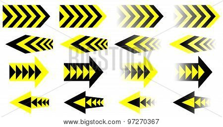 Set of Vector Black Yellow Arrows. Eps10.