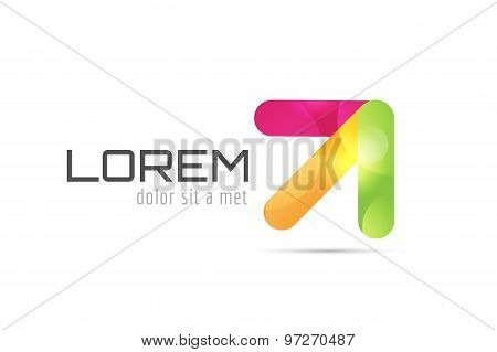 Vector arrow abstract logo template. Up, cursor icon, creative idea, arrowheads marker and dynamic o