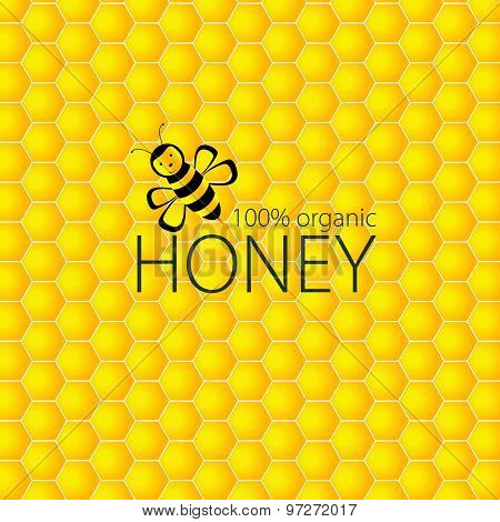 Bee And Honey Vector On Yellow