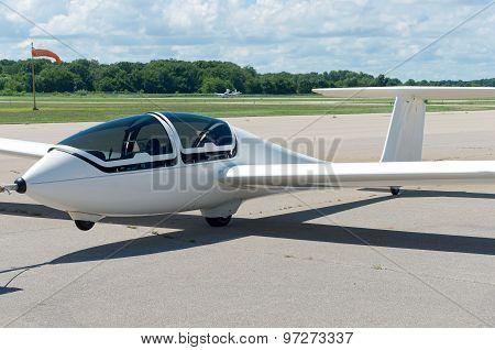 Glider Plane On Runway