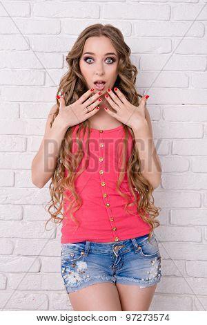 Beautiful Girl Surprised
