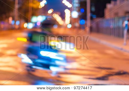 Abstract blurred slow motion, biker riding motorbike, side view, blur movement, speed concept. poster