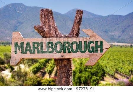 Marlborough wooden sign with winery background