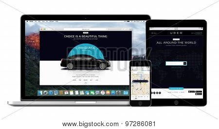 Uber App On The Apple Iphone Display And Desktop Version Of Uber On The Macbook Pro And Ipad Screens