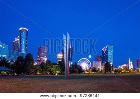 Centennial Park In Atlanta During Blue Hour After Sunset