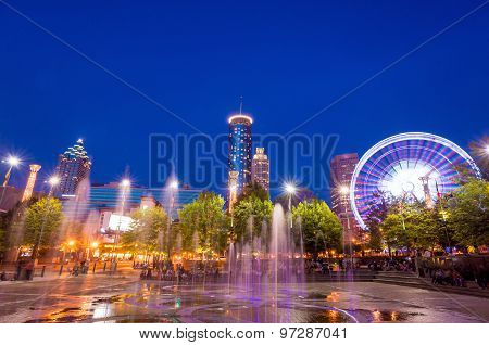 Centennial Park In Atlanta During Blue Hour After Sunset