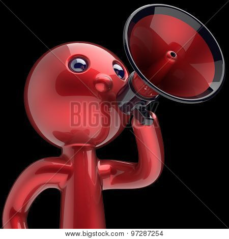 Man Megaphone Character Making Announcement Red Stylized