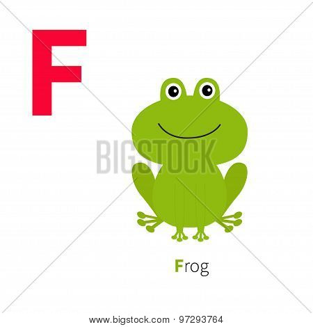 Letter F Frog Zoo Alphabet. English Abc With Animals Education Cards For Kids Isolated White Backgro