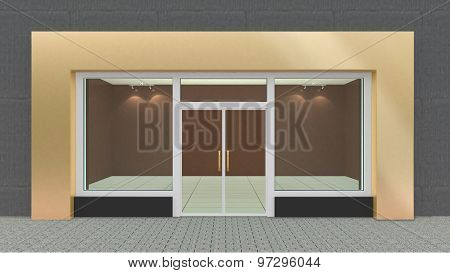 Empty Gold Store Front With Big Windows