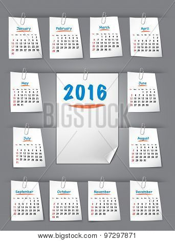 Calendar for 2016 year on sticky notes attached to the background with paper clips. Sundays first. Vector illustration poster