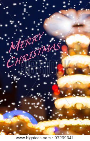 Snowy Christmas Lights Silhouette - Merry Christmas