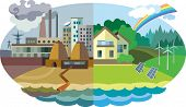 Flat design vector concept illustration: urban and village landscape. Environmental pollution and environment protection poster