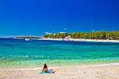 Turquoise Adriatic beach in Primosten Dalmatia Croatia poster
