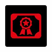 Certificate icon. Vector style is intensive red and black colors, flat rounded square button on a white background. poster