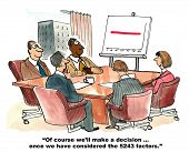 "Business cartoon showing a business meeting, a chart showing flat sales and businessperson saying, ""Of course we'll make a decision... once we have considered the 5243 factors"". poster"