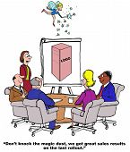 Business cartoon showing people in a meeting, a chart showing a new product and an angel spreading magic dust on the chart.  Businesswoman says, 'Don't know the magic dust, we got great results on the last rollout'. poster