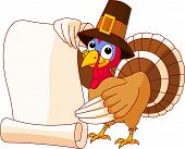 Illustration of Thanksgiving turkey with hat holding scroll poster