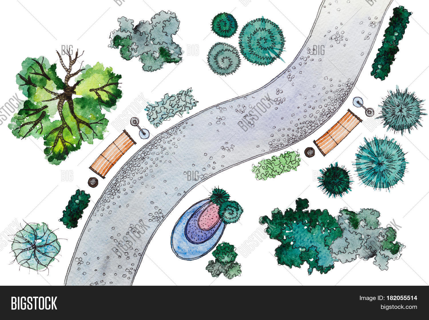 Set Of Hand Drawn Watercolor Pictorial Landscape Design Elements: Different  Types Of Green Trees,