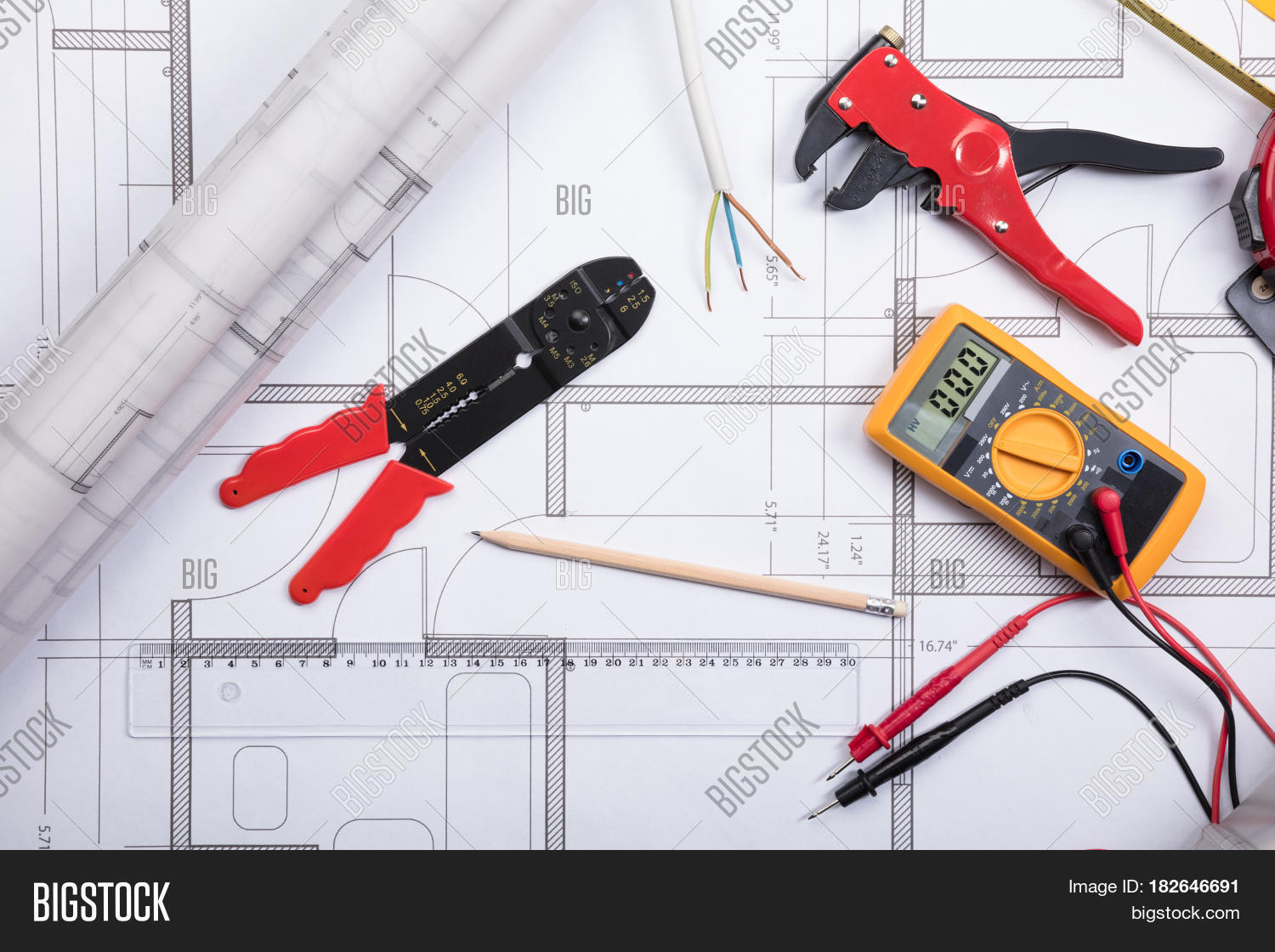 High angle view image photo free trial bigstock high angle view of electrical instrument with tools and digital multimeter on a blueprint ccuart Image collections