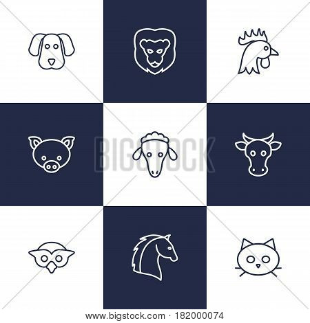 Set Of 9 Brute Outline Icons Set.Collection Of Pig, Dog, Cow And Other Elements.