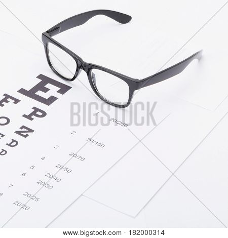Close Up Studio Shot Of A Table For Eyesight Test With Glasses Over It