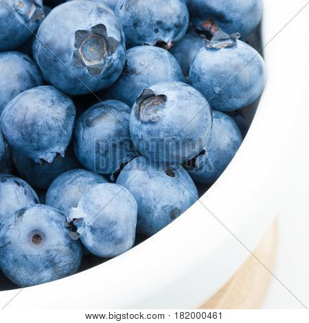 Bunch Of Fresh Blueberries In White Bowl - Close Up Studio Shot