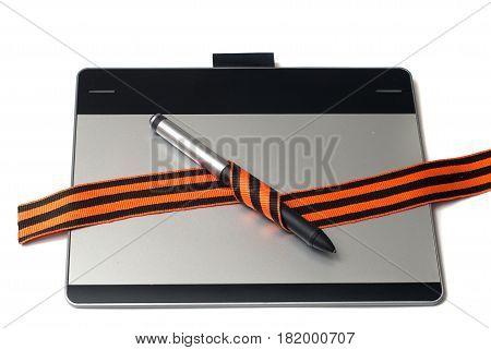 Graphic Tablet And Pen For Illustrators And Designers Isolated On White Background, St. George Ribbo
