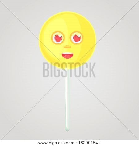 Yellow candy is an emotional icon, voluminous with a face, on a stick. Round caramel. In love. Sweet food. Cartoon style. Object isolated on a gradient background.