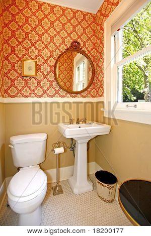 Cozy Qntiue Powder Bathroom.
