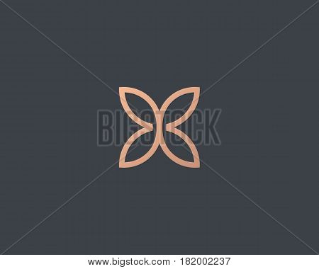 Abstract butterfly flower simple vector logotype. Line minimal universal luxury icon logo